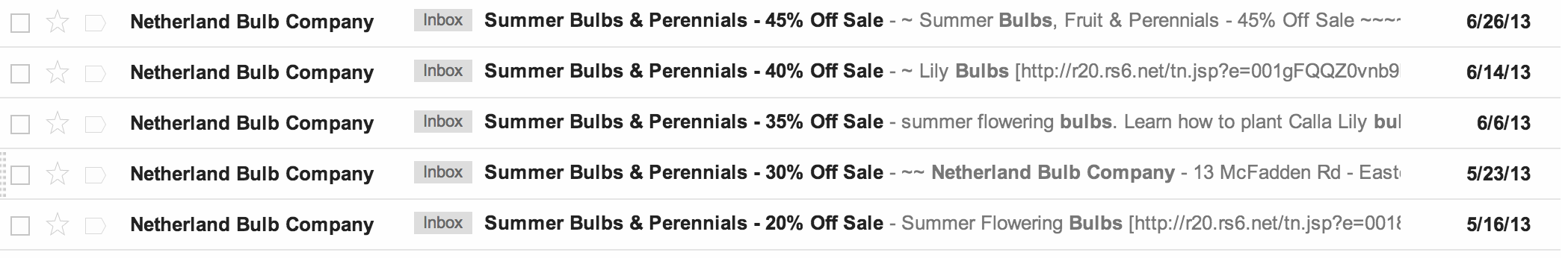 ecommerce email deals